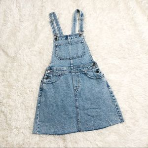 H&M divided jean overall skirt 4 distressed hem
